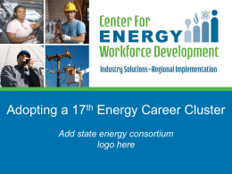 Why a 17th Career Cluster in Energy?