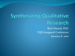Synthesizing Qualitative Research - NSUWorks