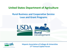 usda/ rural developmetn - Hispanic Association of Colleges and
