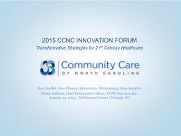Modernizing Data Analytics - Community Care of North Carolina