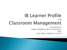 IB Learner Profile and Classroom Management