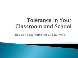 Tolerance in Your Classroom and School