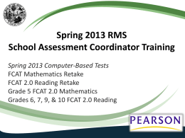 District/School Assessment Coordinator Training