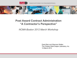 Post Award Contract Administration from an Industry Perspective