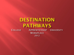 Destination Pathways College Apprenticeship University Workplace
