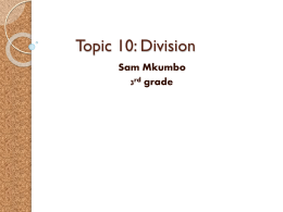 Topic 10:DIVISION