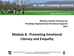 What is Emotional Literacy? - NC Early Learning Network Training