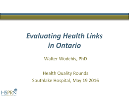 Value of Health Links - Health Quality Ontario