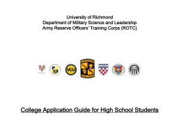 College Steps Powerpoint - VCU Military Science and Leadership