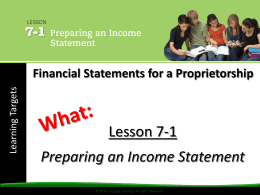 Lesson 07 Financial Statements for a Proprietorship
