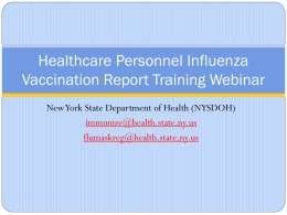 Healthcare Personnel Influenza Vaccination Report