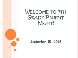 Welcome to Third Grade Parent Night! - Anoka