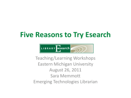 Learning more about Esearch - Eastern Michigan University