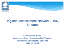 Regional Assessment Network (RAN) Update