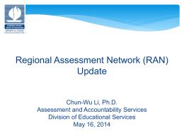 Regional Assessment Network (RAN) Update