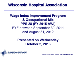 Wage Index for FY 2014 - RC Healthcare Management!