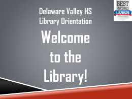 PowerPoint Presentation - Delaware Valley School District