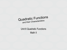 Quadratic Functions and their Characteristics