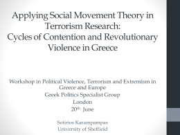 Applying Social Movement Theory in Terrorism Research: The Case