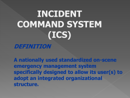 Incident Command System - (SECC) Office of Education