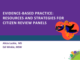 Based Practice Resources and Strategies for Citizen Review Panels