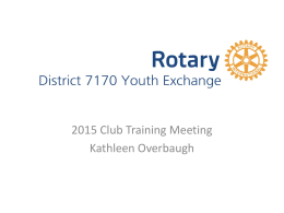 2015 - Rotary Youth Exchange District 7170