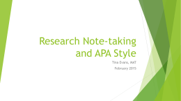 Research Note-taking and APA Style