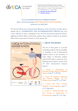 NEW DEADLINES AND COURSES - UCA International Summer