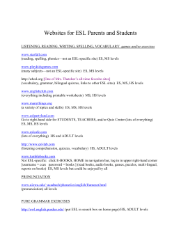 Websites for ESL Parents and Students