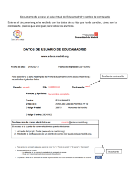 Documento de acceso al aula virtual de Educamadrid y cambio de