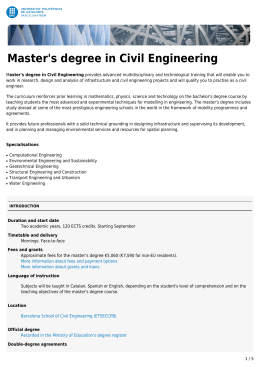 Master`s degree in Civil Engineering