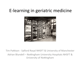 E-‐learning in geriatric medicine