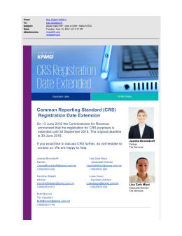 Common Reporting Standard (CRS) Registration Date Extension