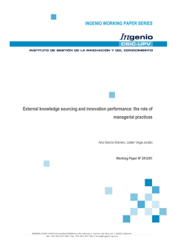 INGENIO WORKING PAPER SERIES External knowledge sourcing