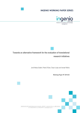 INGENIO WORKING PAPER SERIES Towards an alternative