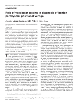 Role of vestibular testing in diagnosis of benign paroxysmal