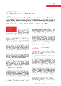 De l`article 49-3 de la Constitution 266j2