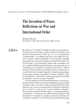 The Invention of Peace. Reflections on War and International Order