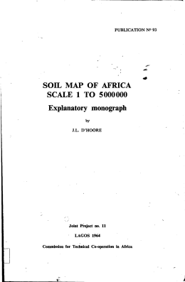 SOIL MAP OF AFRICA SCALE 1 TO 5000000 Explanatory