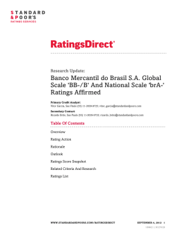 Banco Mercantil do Brasil S.A. Global Scale `BB