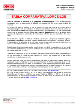 TABLA COMPARATIVA LOMCE-LOE