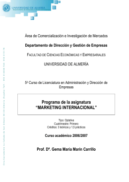 "Programa de la asignatura ""MARKETING INTERNACIONAL"""