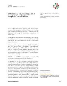 Ortopedia y Traumatología en el Hospital Central