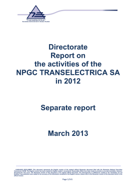 Directorate Report on the activities of the NPGC TRANSELECTRICA