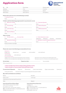 application form - International House Riviera Maya