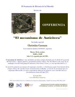 "CONFERENCIA ""El mecanismo de Anticitera"""