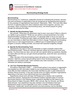 Page 1 Benchmarking Strategy Guide Benchmarking Benchmarking