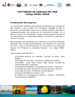 Documento de especificaciones del Doctorado en Ciencias del Mar