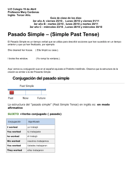 Pasado Simple – (Simple Past Tense)