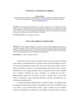 o texto e a interação verbal text and verbal interaction